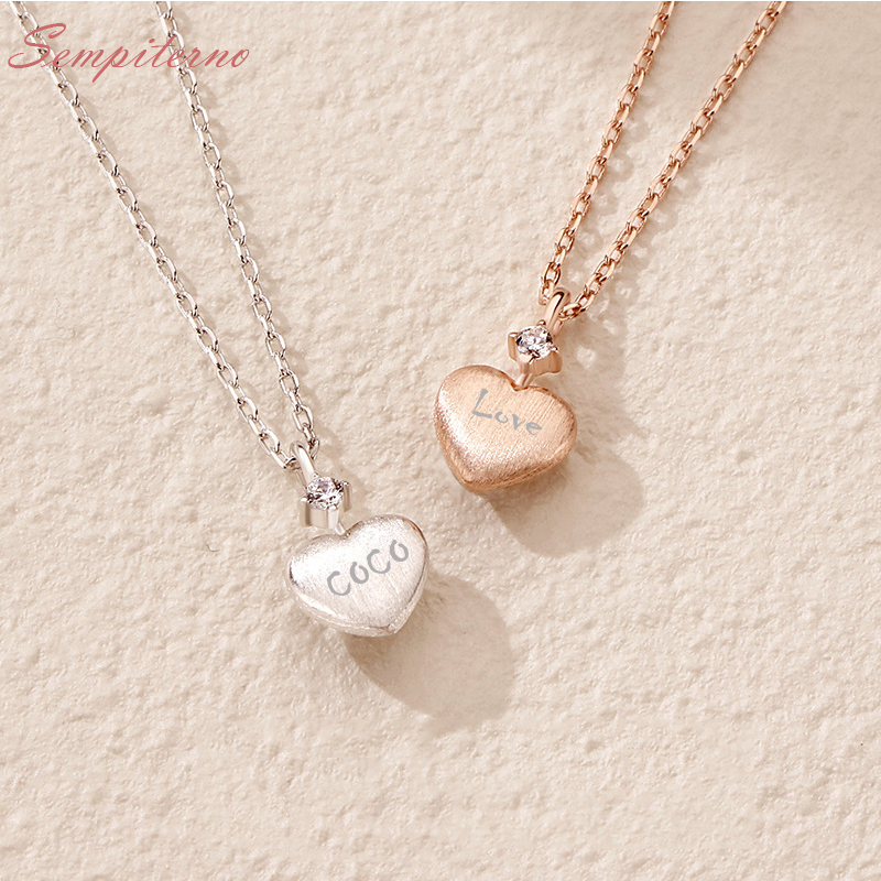 Custom Heart Necklace 925 Silver Letter Necklace Name Pendants Lovely Gift For Best Friend Mom Girlfriend image