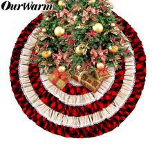 OurWarm Christmas Tree Skirt Xmas Tree Decoration Ruffled Trim-Style Cotton Christmas Tree Decor Red-Black Plaid 48INCH