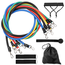 11Pcs/Set Fitness Puller Resistance Bands Multi-functional Muscle Strength Yoga Training Rope Resistance Belt Gym Home Fitness