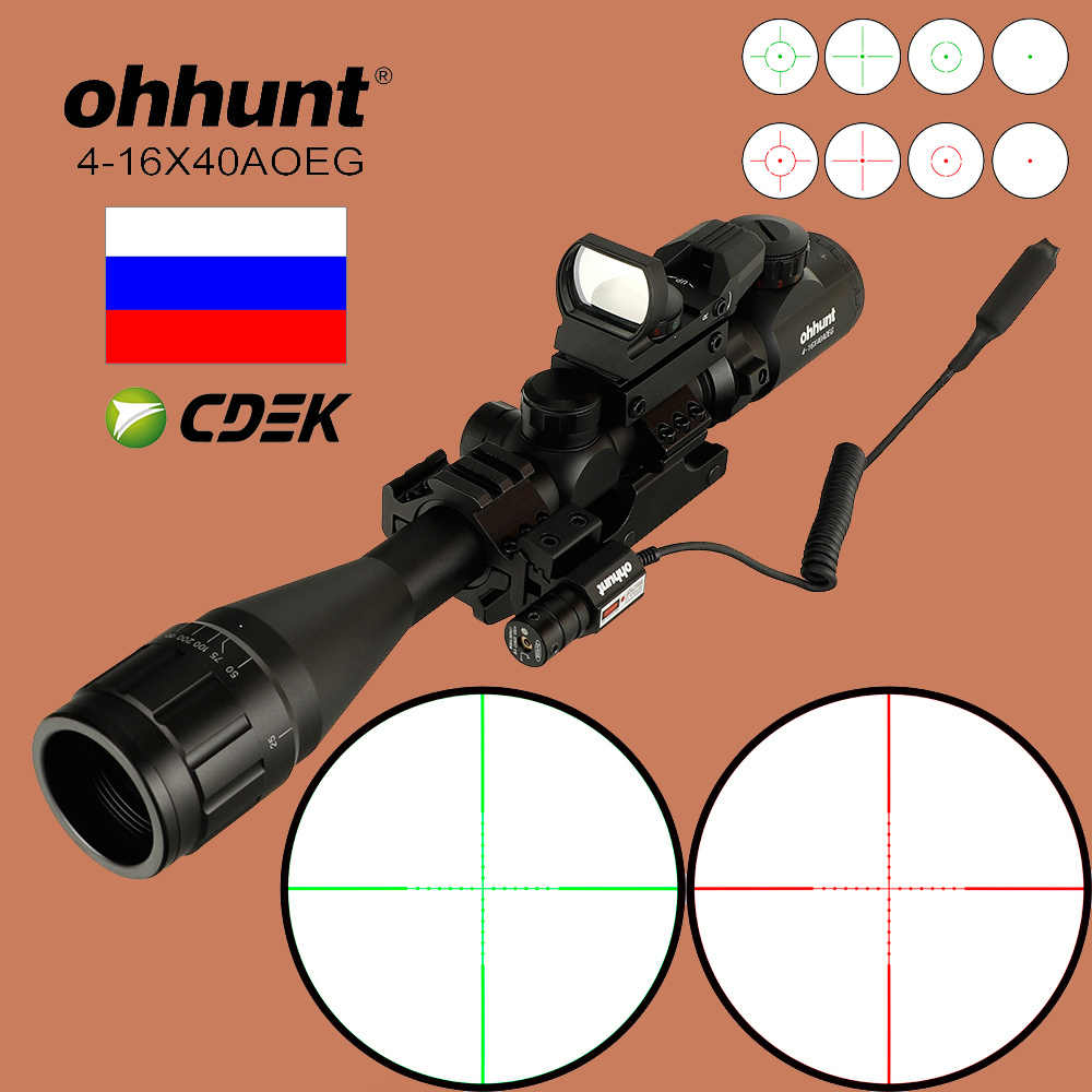 Ohhunt 4-16X40 AOEG Tactische Combo Riflescope Mil Dot Draad Richtkruis Optische Rifle Scope met Rode Laser Red Dot Sight Rail mount