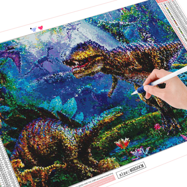 HUACAN Diamond Painting New Square Stones Animals Diamond Embroidery Sale Dinosaur Picture Of Rhinestones Hobby And