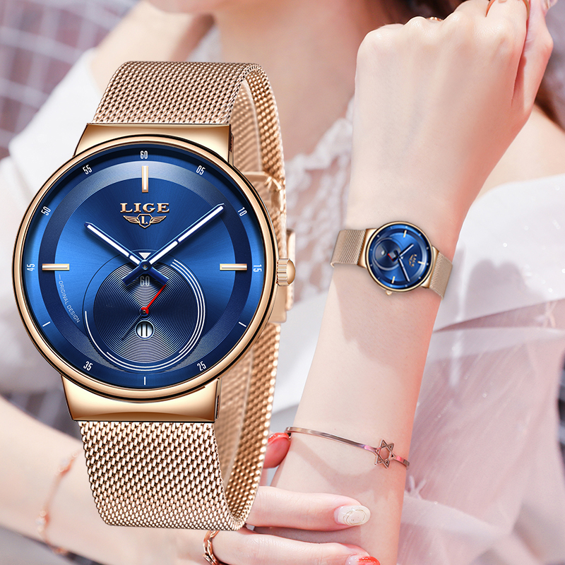 Relogio Feminino LIGE 2020 New Womens Watches Blue Fashion Watches Women Waterproof Clock Slim Quartz Ladies Watch Relojes Mujer