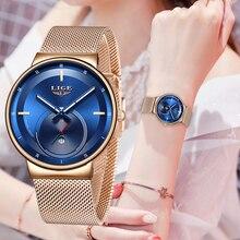 Relogio Feminino LIGE montres à Quartz pour femmes, bleu, tendance, horloge étanche, Slim, nouvelle collection 2020