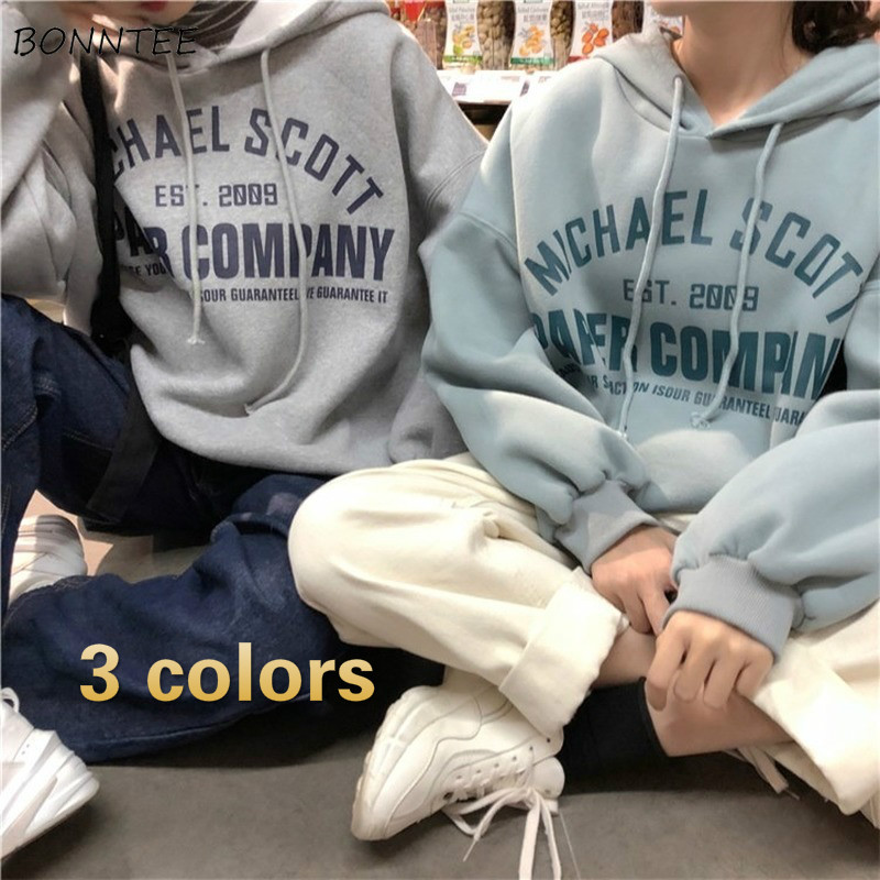 Hoodies Women BF Loose 2XL Streetwear Thickening Warm Winter Velvet Womens Unisex Pullover Fashion Korean Style Harajuku Ulzzang