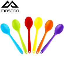 MOSODO Silicone Serving Spoon Long Handle Nonstick Mixing Ladle Cooking Soup Spoons Kitchen Utensil Accessories Tools