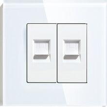 Двойная настенная декоративная розетка BSEED из поликарбоната LAN, двойной компьютерный разъем, универсальная розетка, роскошная зеркальная б...