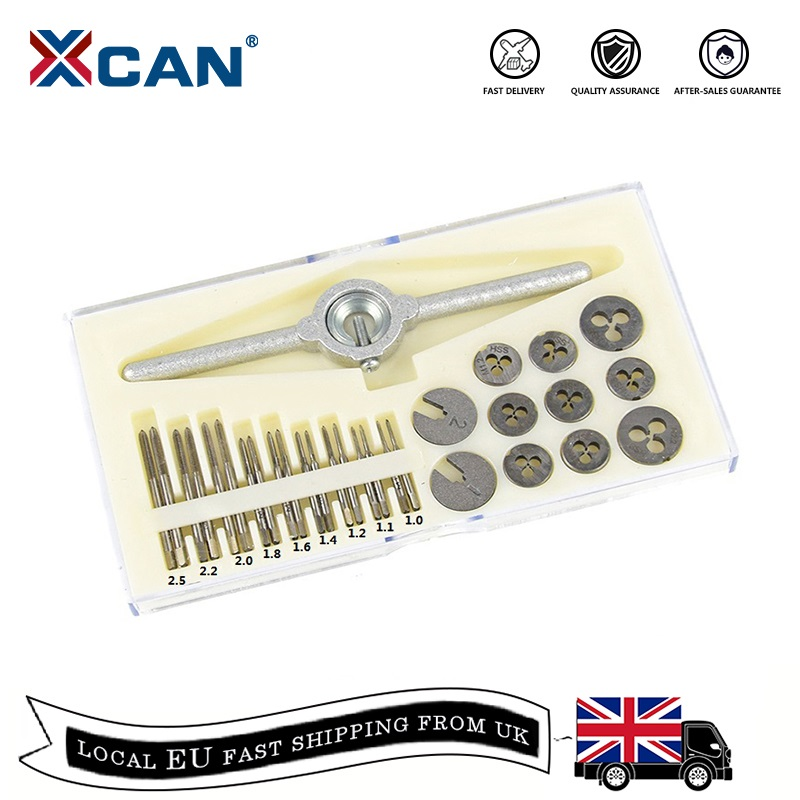 XCAN 31pcs M1-M2.5 Metric Tap And Die Set Mini NC Screw Thread Plugs Taps HSS Steel Hand Screw Tap Die Wrench Set