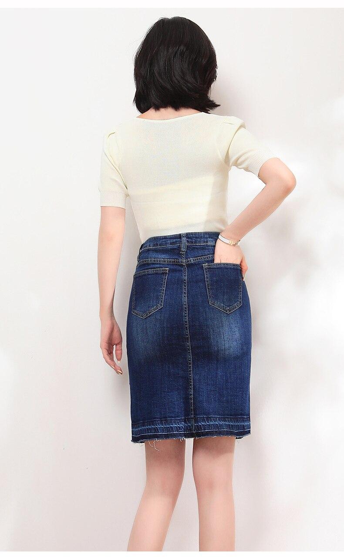 KSTUN Women Skirt Summer Fashion High Waist Step Skirt Embroidered Elastic Waist Denim Skirts Woman Single Button Push Up Jeans Skirt 14