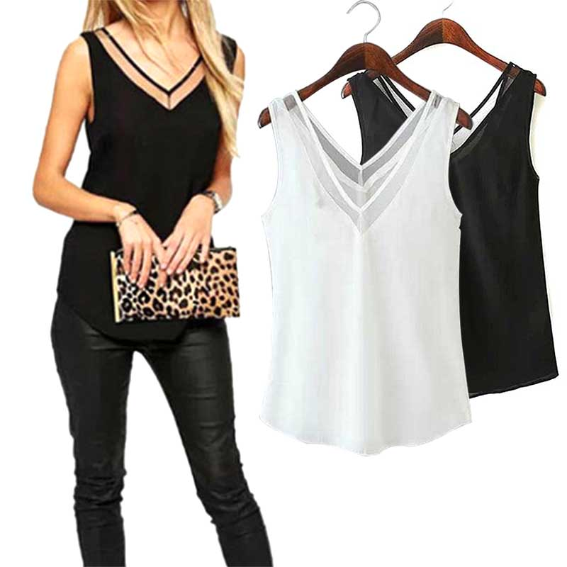 2019 Newly Hot Sales Fashion Office Lady Chiffon Slim Loose V-Neck Sleeveless Vest Shirt Blouse   Tops   For Women Girls MSK66