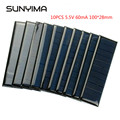 SUNYIMA 10PCS Polycrystalline Solar Panel 5.5V 60mA Portable Mini Solar Cells for DIY Solar Charger Sun Power Module 100*28mm