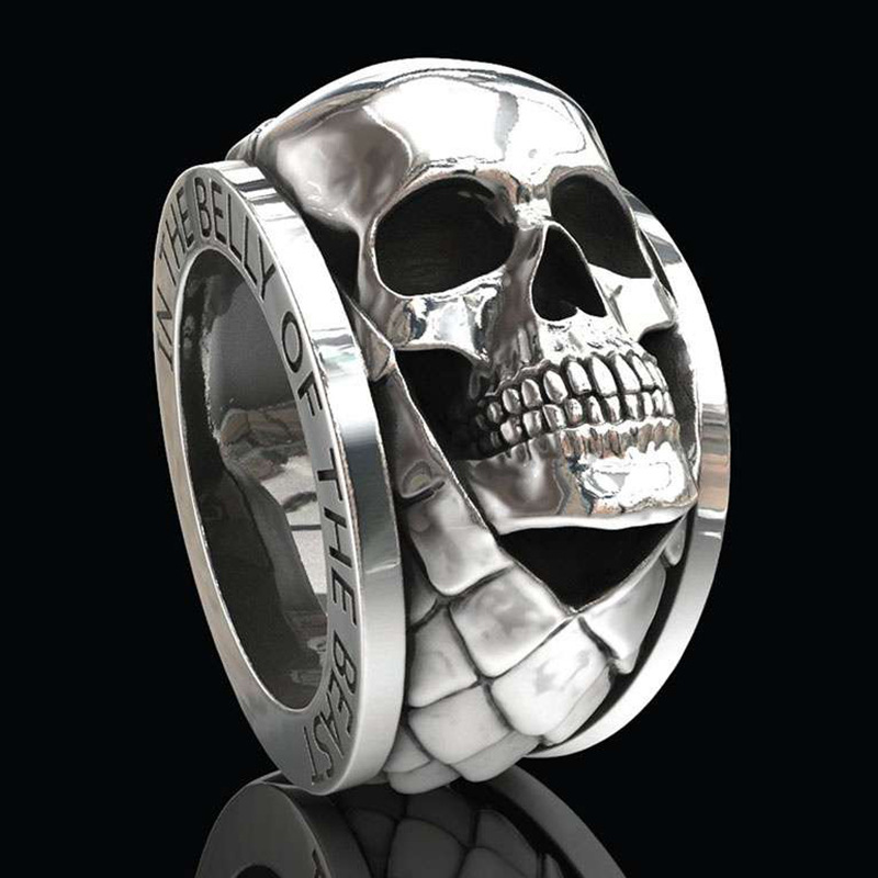 Hip Hop Skull Ring Men's 925 Silver Vintage Ring Party Birthday Gift Jewellery Ring