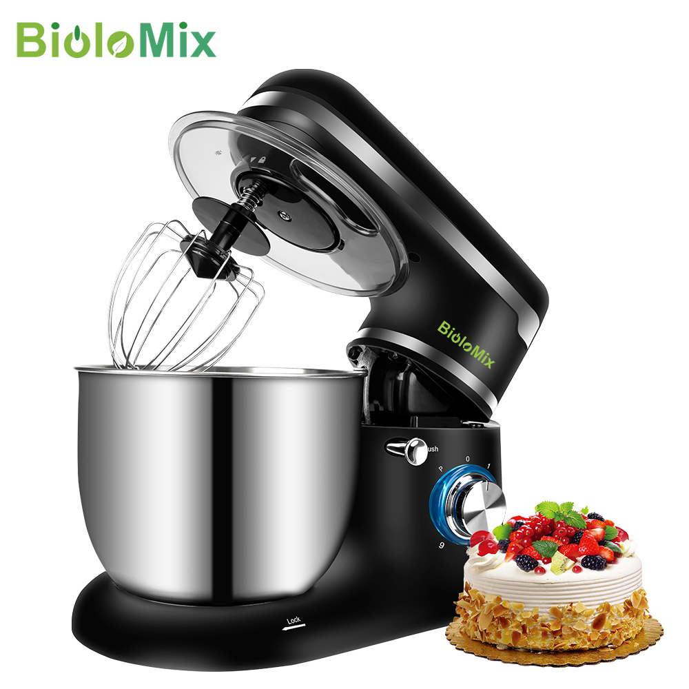 BioloMix Stand Mixer Stainless Steel Bowl 6 speed Kitchen Food Blender Cream Egg Whisk Cake Dough Kneader Bread Maker