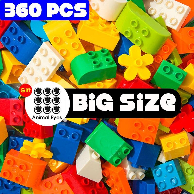 Конструктор большого размера, наклейка в подарок, Цветные Кубики россыпью, фигурки, аксессуары, совместимы с ED DuploED, детские игрушки