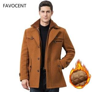 Image 1 - Winter Männer Beiläufige Wolle Graben Mantel Mode Business Medium Solide Verdicken Schlank Windjacke Mantel Jacke Männlichen Plus Größe 5XL
