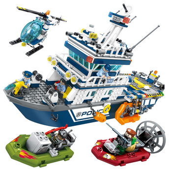 869pcs Police Station Patrol Ship Building Blocks Lepining City Plane Boat Helicopter Model Brick Educational Toys for Childre