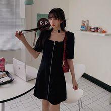 Женские платья летнее сексуальное черное платье с коротким рукавом