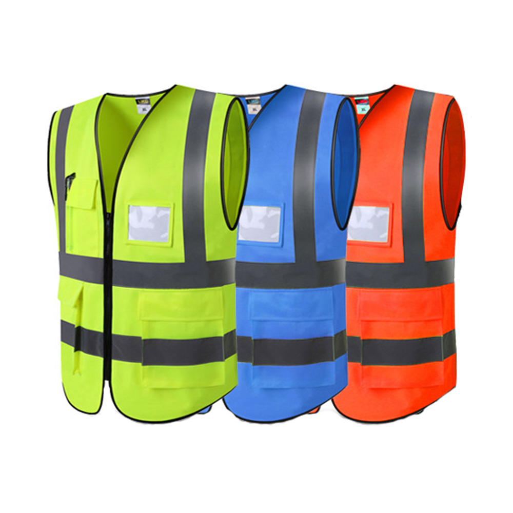 High Visibility Reflective Safety Vest Work Reflective Vest Multi Pockets Men Workwear Safety Waistcoat With Logo Pringing
