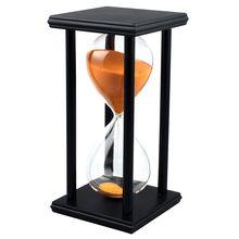 Colors! 60Min Wooden Sand Sandglass Hourglass Timer Clock Decor Unique Gift Type:60Min Black Frame Orange Sand