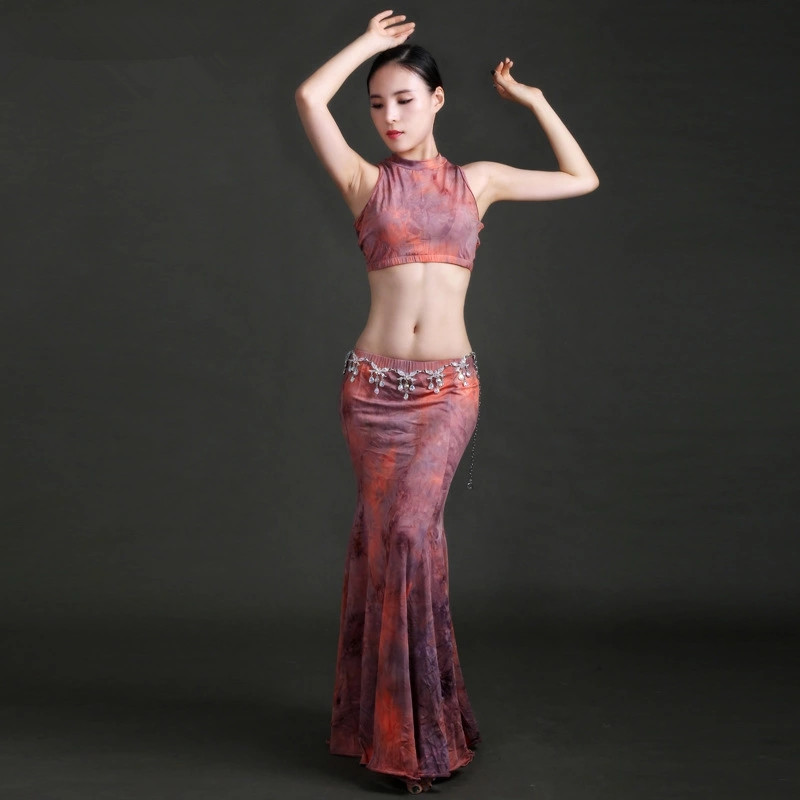 Women Belly Dance Suit Fishtail Skirt Female Adults Belly Dance Costumes Painting Mesh Belly Dance Uniforms Long Skirt Two Piece
