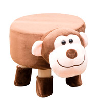 Cartoon Small Children Animal Chair Wood Stools Kids Shoes Sofa with Plush Cartoon Cover Upscale Baby Chairs Bench