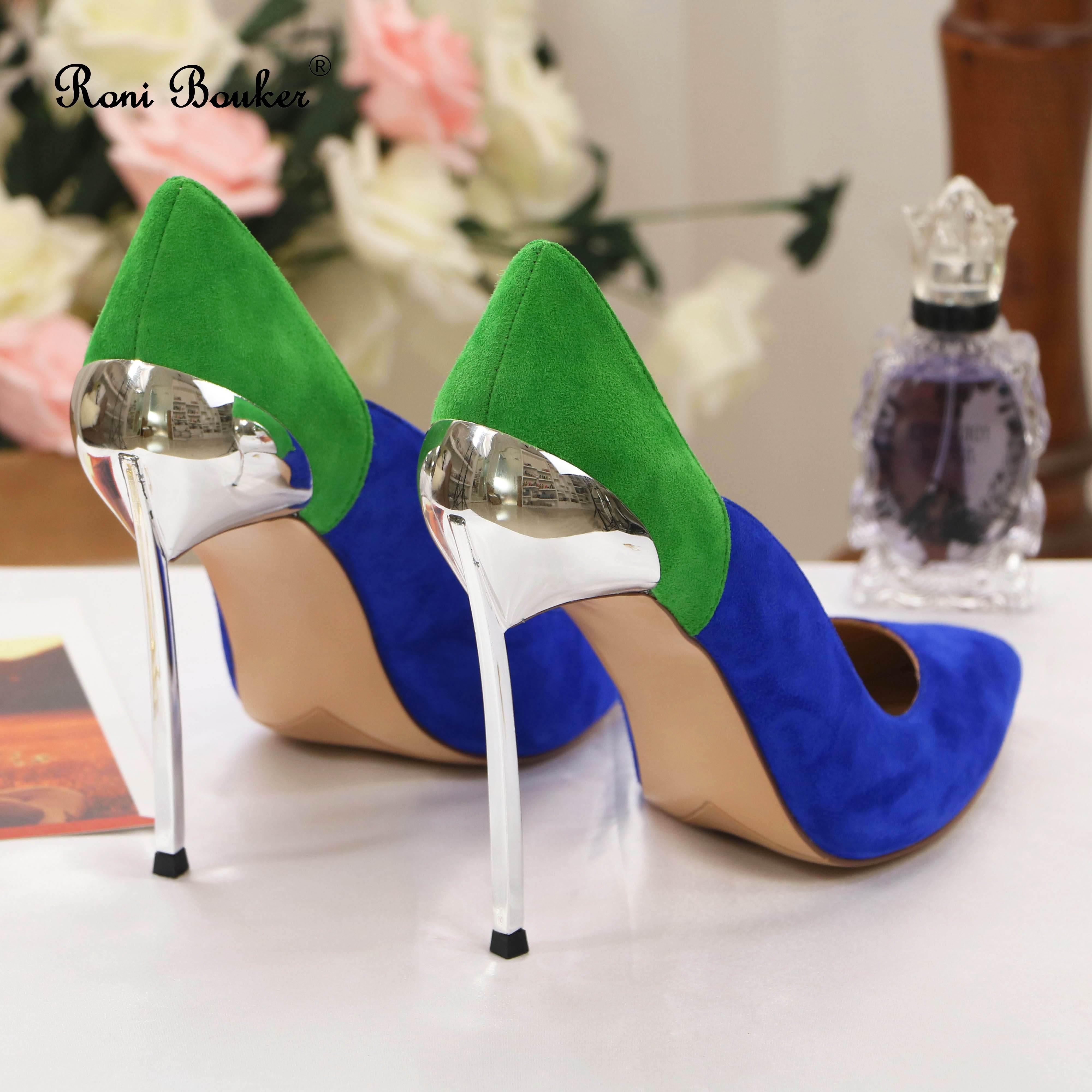 Ayakk.'ten Kadın Pompaları'de Roni Bouker Kadınlar Pembe Mavi Topuklu Doğal Süet Deri Pompaları Düğün Ayakkabı Kadın El Yapımı Yüksek Topuk Boyutu 42 Dropshipping'da  Grup 2
