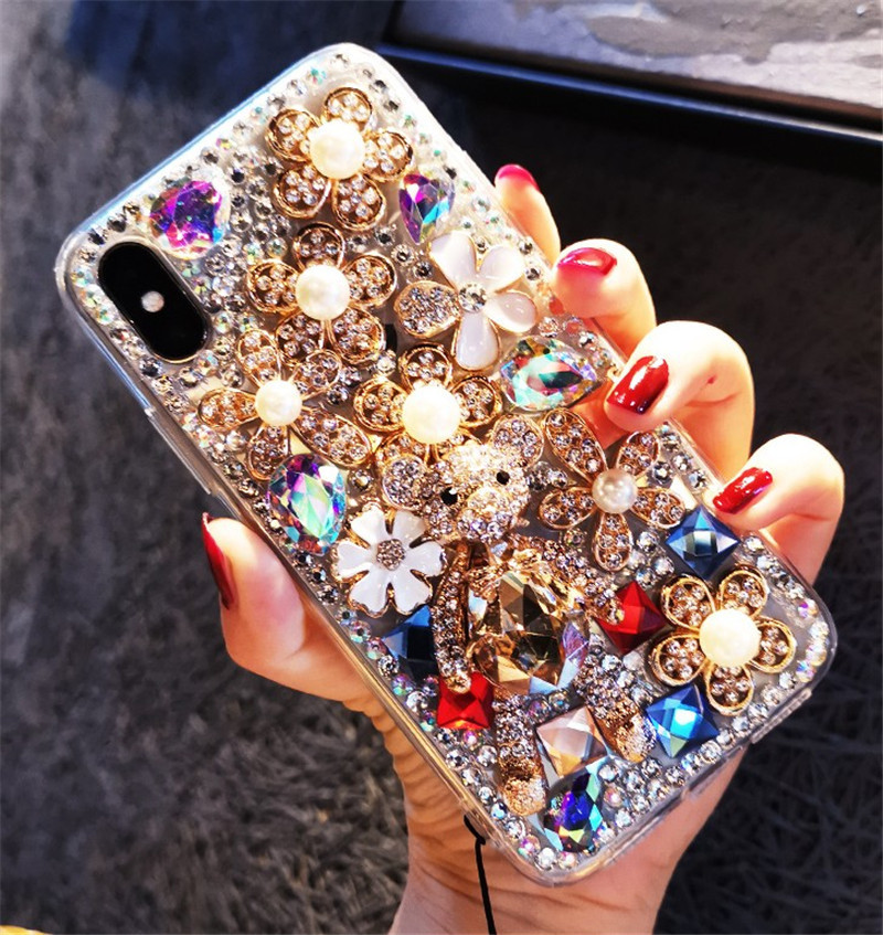 case for iPhone 11 XR 7 8 11 Pro Max X XS Max Plus 6 6s little cute bear flower cover