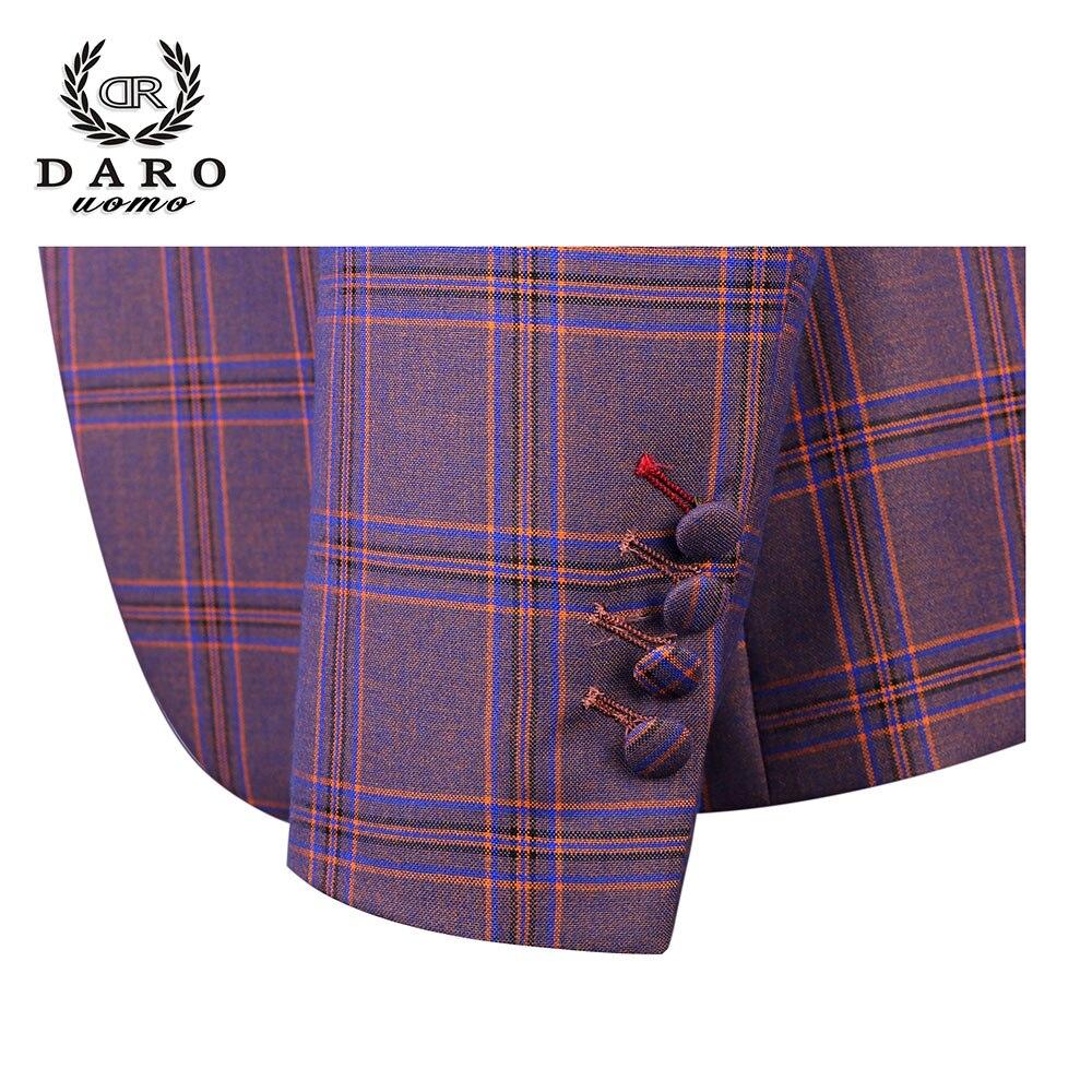 DARO 2019 nuevo traje de hombre 3 piezas Traje a cuadros a la moda ajustado azul púrpura vestido de boda trajes Blazer pantalón y chaleco DR8193 - 4