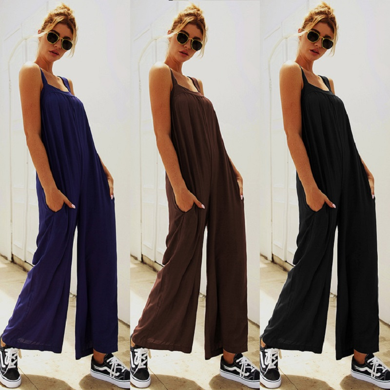 2019 Autumn Women Casual Loose Long Pants Jumpsuit Fashion Sling With Pocket Solid Color Bib Pants New Loose Black Jumpsuits