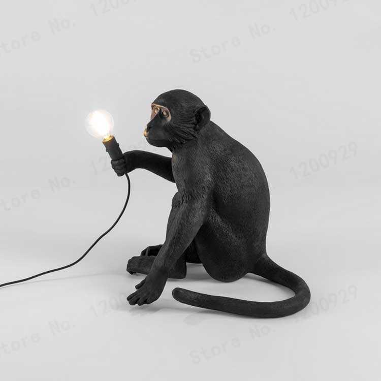 Смола светодиодный кулон с обезьяной свет лампа пеньковая веревка лампа Висячие лампы черный белый искусство Гостиная Кабинет Детская комната блеск E27