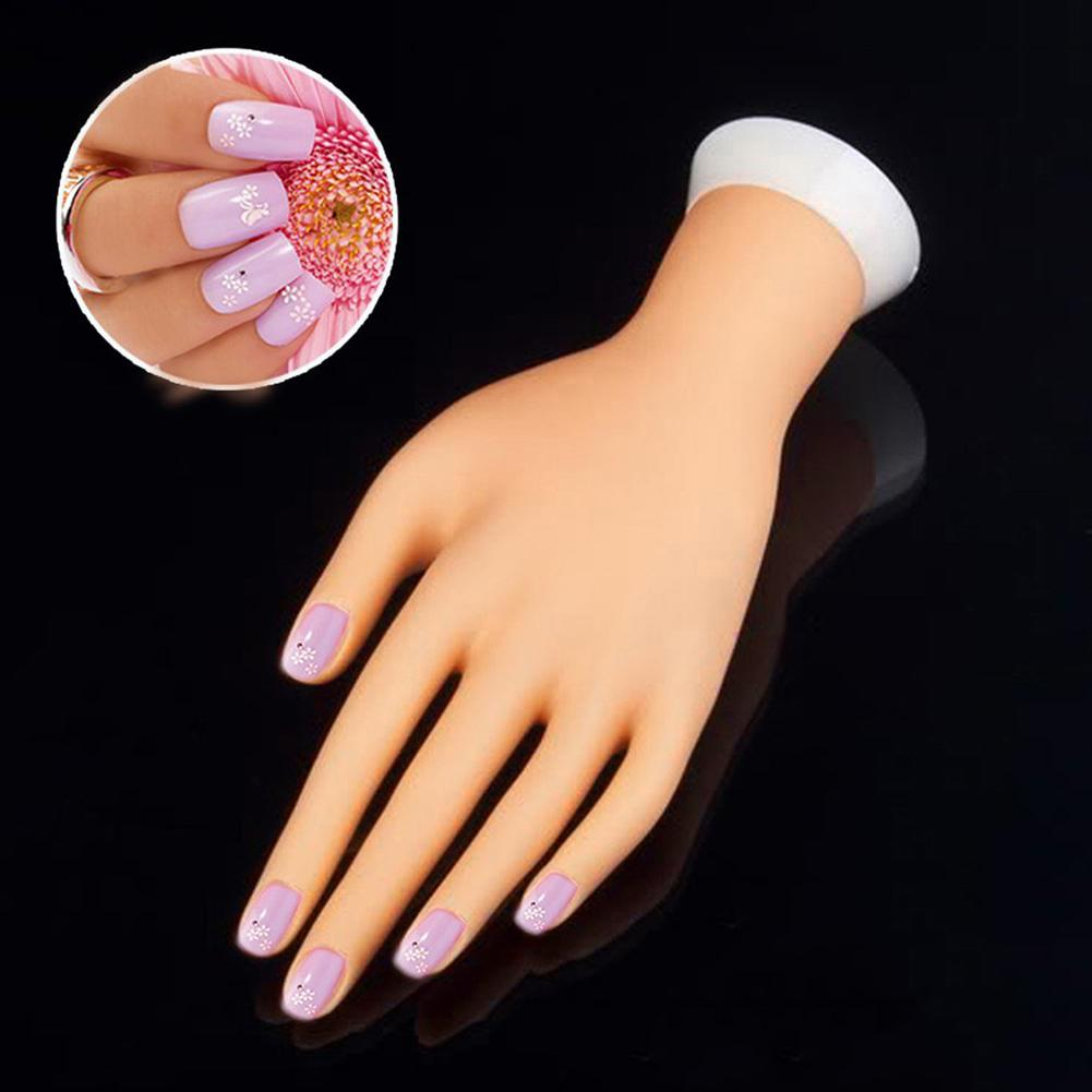 Nail Practice Hand Model Bendable Table Mount Soft Manicure Practice Model Nail Art Training Display Model Faux Hand