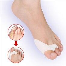 2 pçs silicone gel polegar corrector joint pouco toe protetor separador hallux valgus dedo alisador de cuidados com os pés alívio almofadas