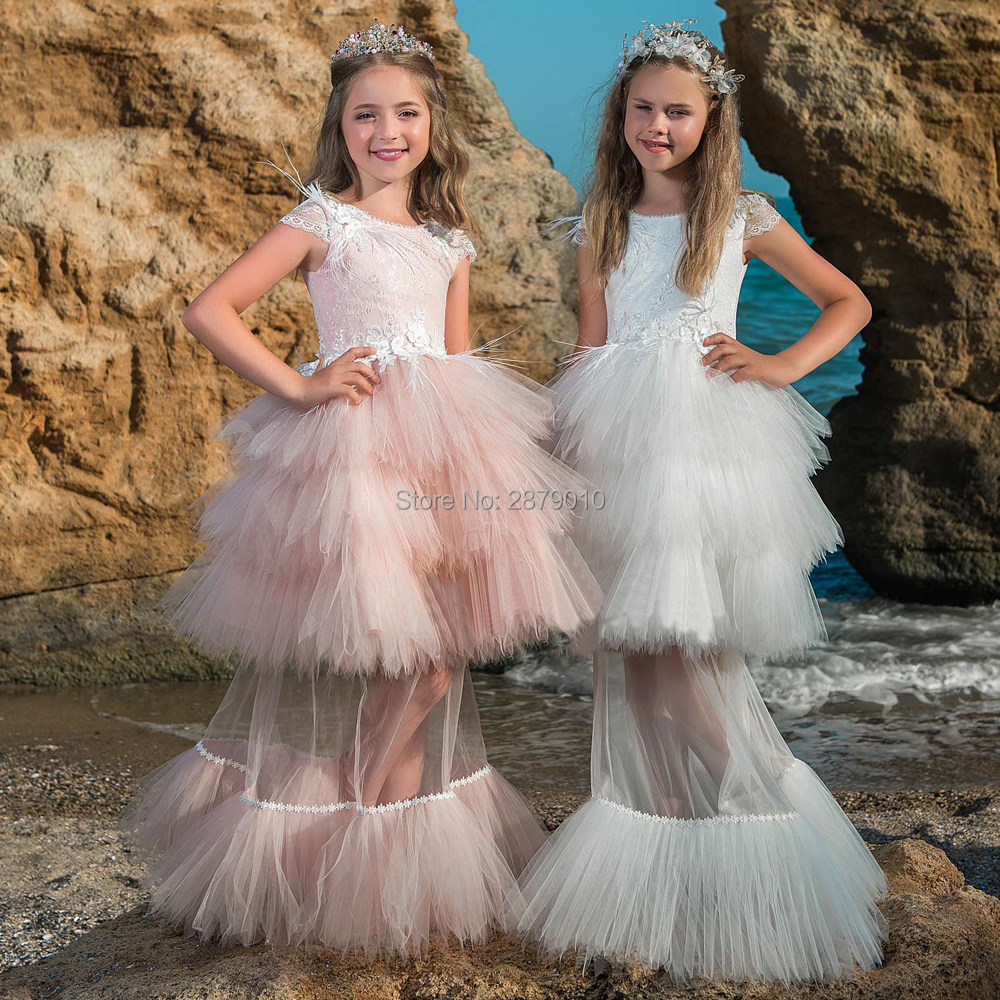 Two-Piece 2019   Flower     Girl     Dresses   Appliques Lace Beaded Pearl Tulle Short   Dress   For   Girls   Dance   Dress   Princess Pageant   Dress