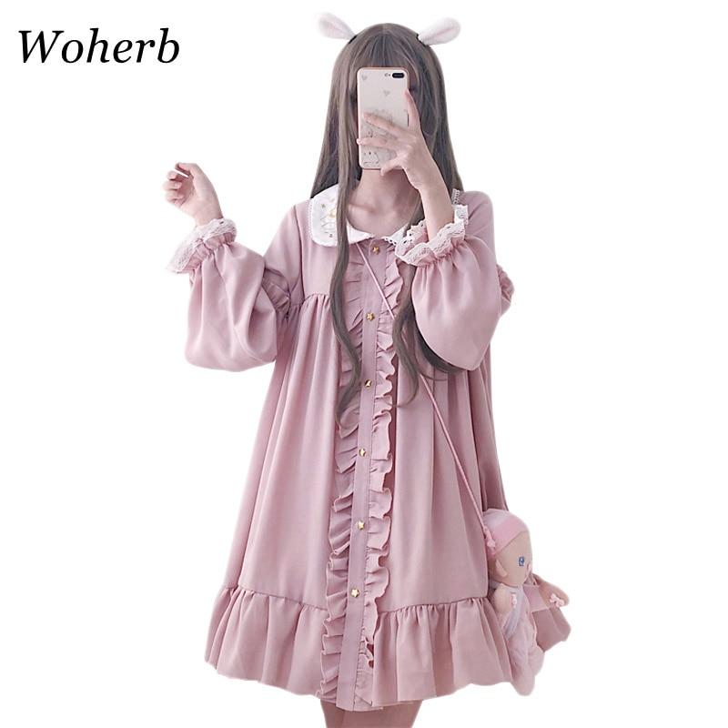 Woherb 2020 Summer Dress Women Harajuku Pink Ladies Ruffle Lace Patch Kawaii Dresses Lolita Cosplay Sweet Loose Vestidos 21092(China)