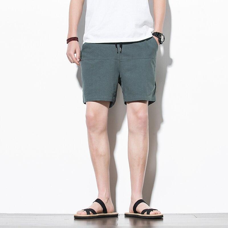 Mens Shorts Casual Shorts Men Drawstring Solid Male 2020 Streetwear Summer Fashion Men Shorts Cotton Linen Beach Shorts