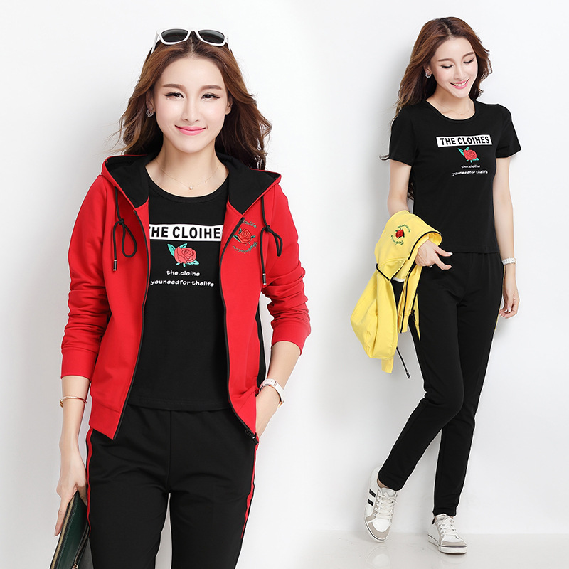 Sports Clothing WOMEN'S Dress Leisure Suit Autumn & Winter New Style Fashion Long Sleeve Hoodie Women's Square Dance Three-piece