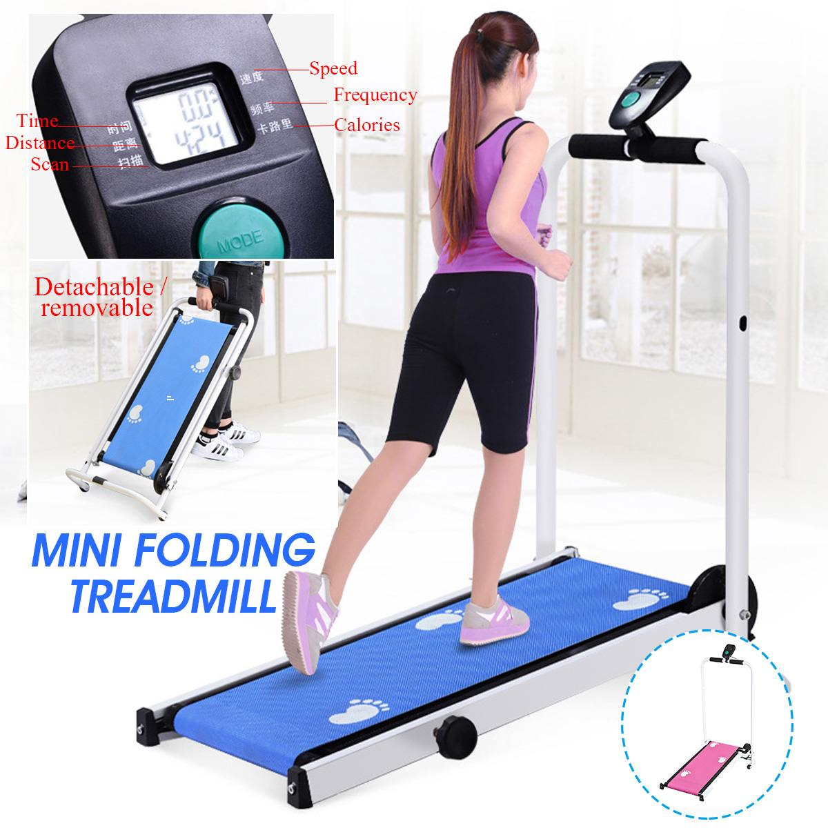 Multifunction Mini Folding Treadmill LED Display Fitness Home Sport Machine 90 ° Collapsible No Floor Space Mobile Roller
