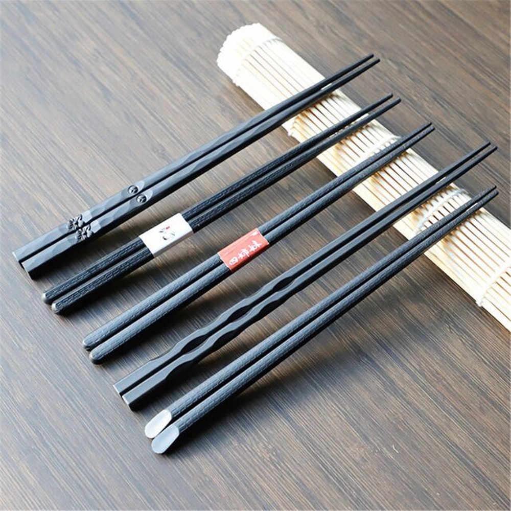 Greatangle 1 Paio di Bacchette Giapponesi in Lega Antiscivolo in Legno Color Sushi Bastoncini Set Regalo Cinese Amici di Famiglia colleghi colleghi