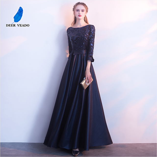 DEERVEADO A Line Sequin Golden Evening Dress Long Prom Party Dresses Evening Gown Formal Dress Women Elegant Robe De Soiree M254 3