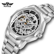Wysokiej jakości zegarek zwycięzca mężczyźni szkielet automatyczny zegarek mechaniczny fajny w kształcie szkieletu mężczyzna zegarek męski zegarek w stylu punk Luminous Hands Clock tanie tanio GUBANG 3Bar Moda casual Automatyczne self-wiatr Składane zapięcie z bezpieczeństwem 22cm Ze stali nierdzewnej 14mm