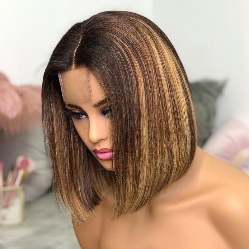 Lace Wigs Highlight Straight Bob Piano Color Lace Closure Wigs Natural Black   Wigs Pre Plucked 3