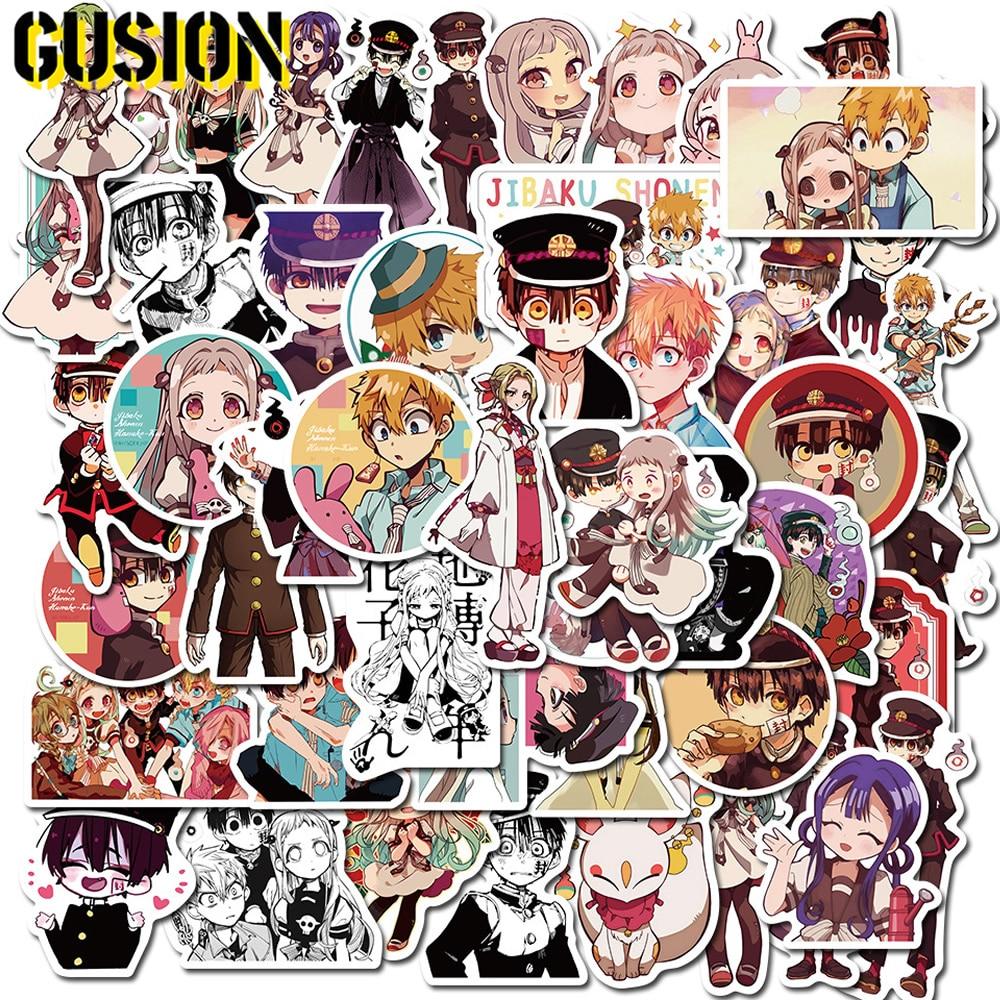 Hanako-kun adesivos anime, 10/30/50 unidades/pacote, adesivos bonito de banheiro, guitarra, skate, bagagem, carro adesivo engraçado de grafite, brinquedo infantil