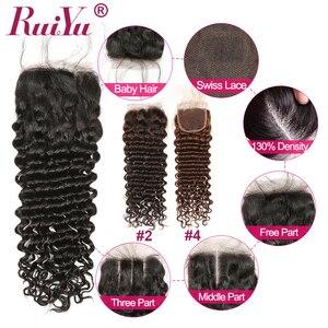 Image 3 - ברזילאי עמוק גל חבילות עם סגירת 100% שיער טבעי 3 חבילות עם סגירת תחרה רמי שיער לארוג כפול ערב RUIYU שיער