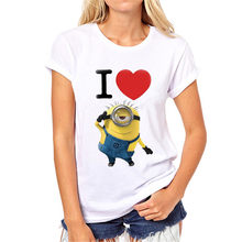 Vrouwen Tops Tee Shirt Mode 2020 Zomer T-shirt Femme Harajuku Pistool Minion Print T-shirt Camisetas Losse O-hals T-shirt(China)
