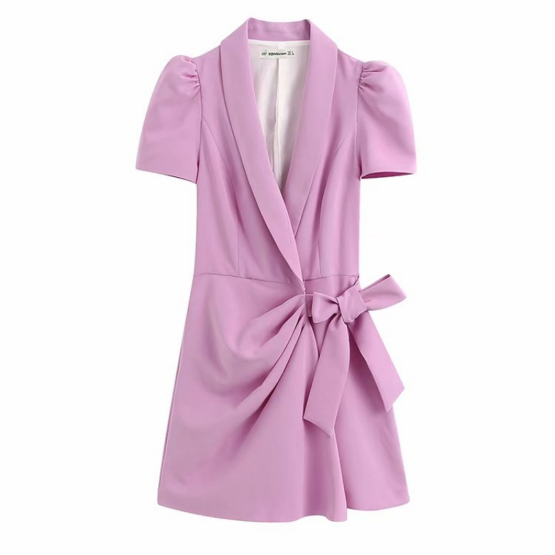 Women Elegant Short Sleeve Bow Tie Suit Style Jumpsuits Ladies Office Wear Business Conjoined Shorts Chic Leisure Siamese DS3485
