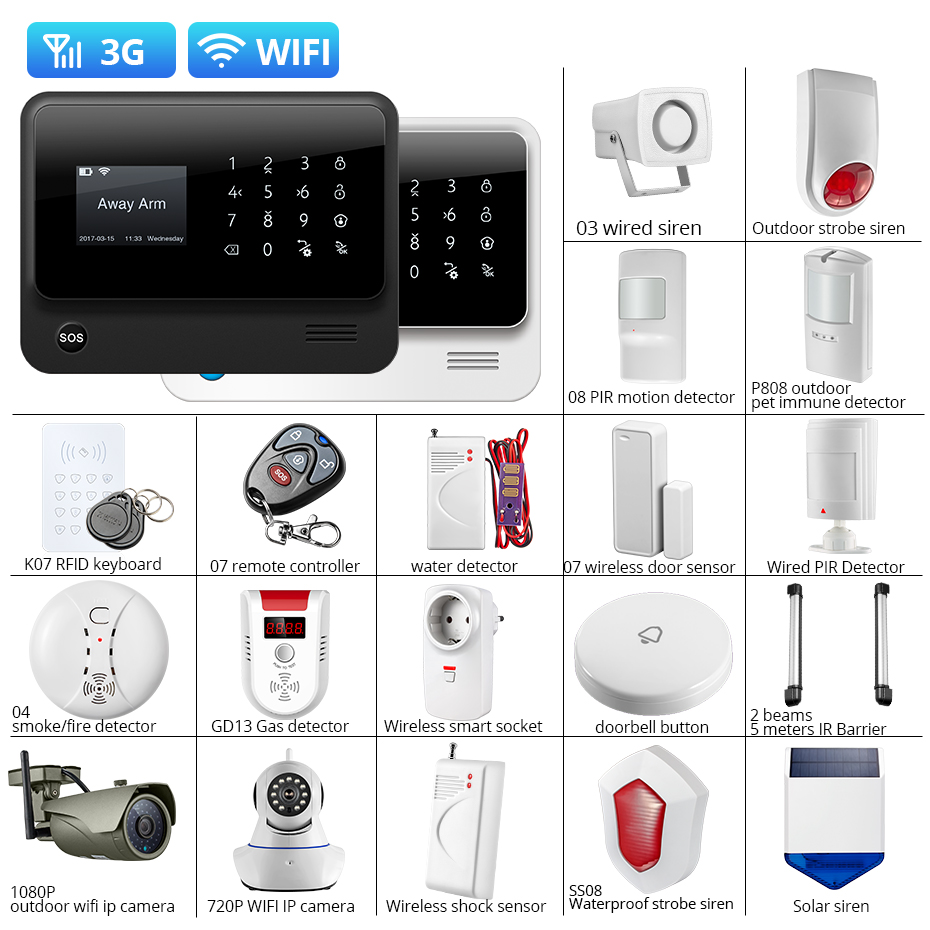 Towode DIY WIFI 3G GSM GPRS Wireless APP Remote Control Home Security Alarm System 1080P HD Camera EN RU ES PL DE Voice