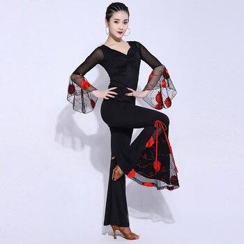 Latin Dance Costume For Women Spring National Standard Ballroom Dance Trumpet Wide Leg Pants Practice Clothes 2-Piece Set DL5489
