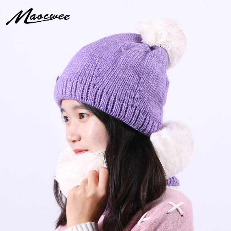 Women Two Piece Set Beanie Hat Scarf Set Winter Knitted Warm Outdoor Biggy Crochet Slouch Bonnet Hats With Thick Lining Female