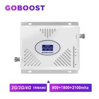 GOBOOST 트라이 밴드 2G 3G 4G 신호 부스터 900 1800 2100 리피터 GSM 휴대 전화 증폭기 3G 70dB GSM 셀룰러 증폭기 3G 4G