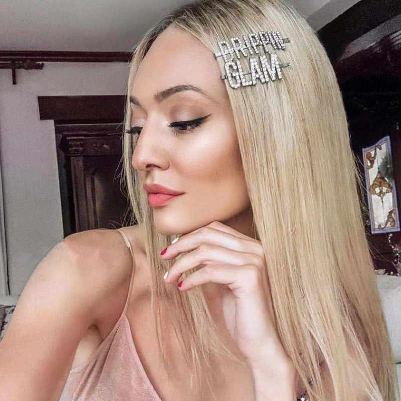 Letra Simple horquillas de diamantes de imitación mujeres pinzas para el pelo horquillas Barrettes accesorios para mujeres niñas Horquillas para el pelo Hairgrip tocado