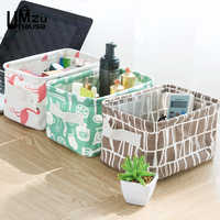 Cotton Linen Boxes Cosmetic Makeup Organizers Flamingos Simple Storage Bins Home Office Organization Girls Desk Table Fold Case